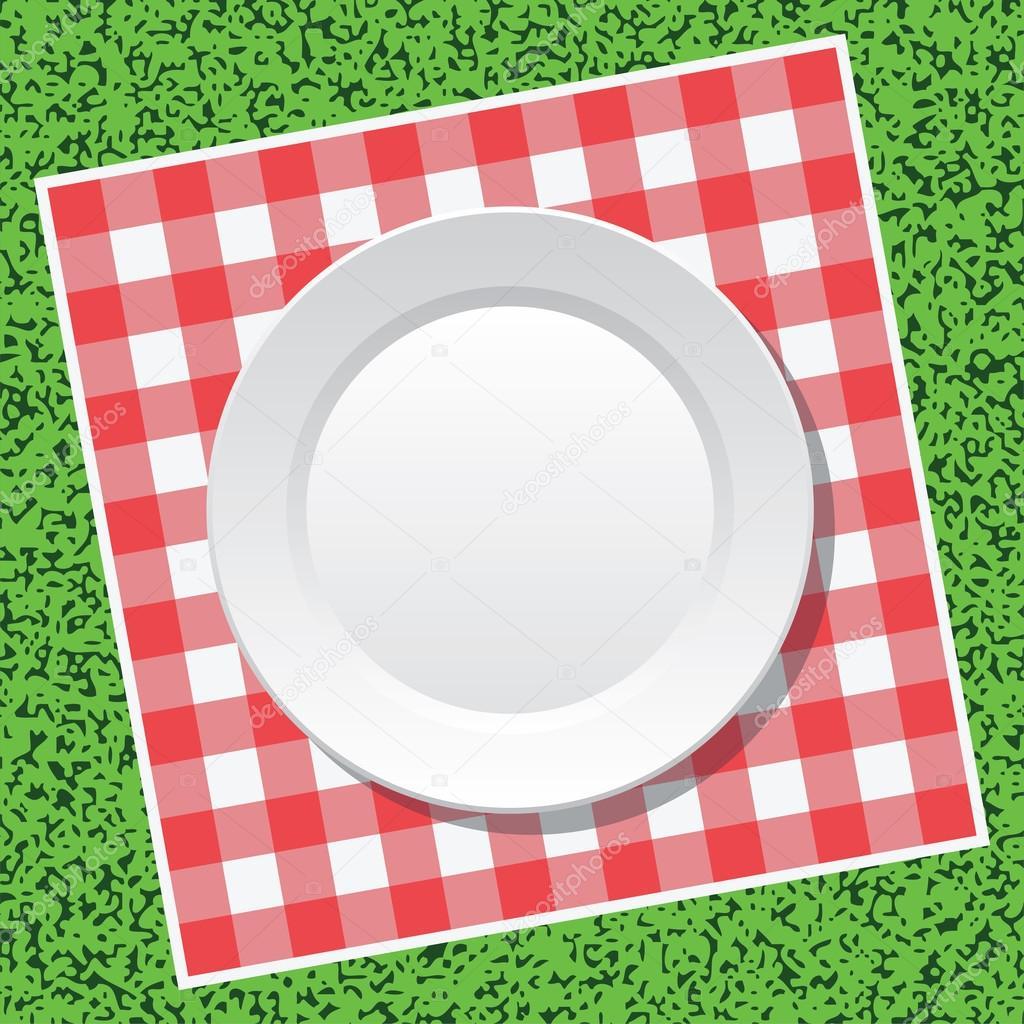 Vector mantel de picnic y plato vac o vector de stock - Platos para picnic ...
