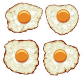 Vector set of delicious fried eggs for breakfast — Stock Vector