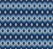 Vector winter blue knitted pattern — Stock Vector