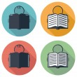 Vector flat icons or symbols of student reading a book — Stock Vector #64442907