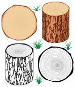 Vector set of tree logs — Stock Vector