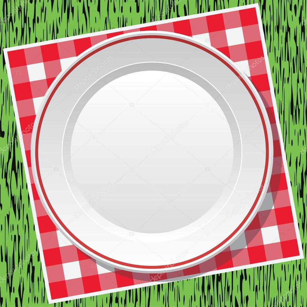 벡터 빨간색 피크닉 식탁보와 푸른 잔디에 빈 접시 — 스톡 벡터 ...