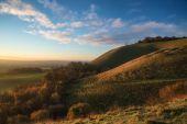 Stunning Autumn sunrise over countryside landscape — Stock Photo