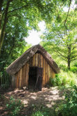 18th Century medieval woodcutters shed in woodland setting — Stock Photo