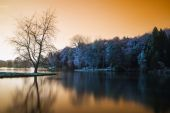 False color lake landscape with calm relfection — Stock Photo