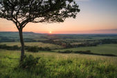 Landscape image Summer sunset view over English countryside — Stock Photo
