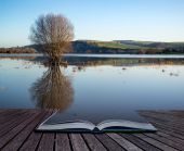 Book concept Mirror reflections of landscape in flood plains in  — Stock Photo