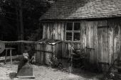 Black and white landscape of old blacksmiths workshop in Victori — Stock Photo