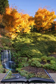 Stunning vibrant Autumn landscape of waterfall conceptual book i — Stock Photo