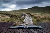 Beautiful landscape of Brecon Beacons National Park with moody s — Stock Photo