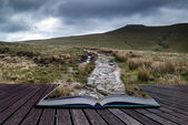 Beautiful landscape of Brecon Beacons National Park with moody s — Foto Stock