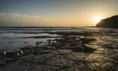 Beautfiul vibrant sunset over Kimmeridge Bay Jurassic Coast Engl — Stock Photo