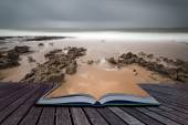 Long exposure landscape beach scene with moody sky conceptual bo — Stock Photo