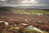 Beautiful Autumn Fall landscape of Hope Valley from Stanage Edge — Stock Photo