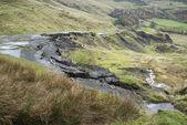 Paisaje de la colapsada carretera A625 en Reino Unido Peak District — Foto de Stock