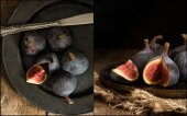 Compilation of images of Fresh figs in moody vintage retro style — Stock Photo
