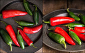 Compilation of red and green peppers images with moody vintage style — Stock Photo