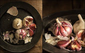Compilation of images of Fresh raw garlic in moody natural light — Stock Photo