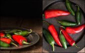 Compilation of red and green peppers images with moody vintage r — Stock Photo