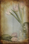 Still life image of Spring flowers with vintage texture filter e — Stock Photo