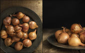 Compilation of shallots images with moody natural light vintage  — Stock Photo