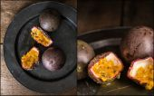 Compilation of images of passion fruit in moody natural light se — Stock Photo