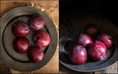 Compilation of images fresh plums in moody natural lighting set  — Stock Photo