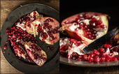 Compilation of pomegranate images in moody natural light set up  — Stock Photo