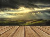 Sunbeams over Big Moor in Peak District National Park in Autumn — Stock Photo