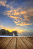 Colourful Winter sunrises behind Durdle Door on Jurassic Coast i — Stock Photo