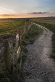 Beautiful Spring landscape of gate leading footpath into fields — Stock Photo
