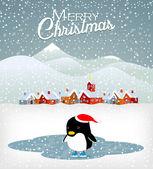 Süße weihnachts-pinguin — Stockvektor