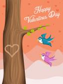 Dag van de Valentijnskaart achtergrond met vliegende vogels van de liefde — Stockvector