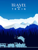 Travel with train background — Vector de stock