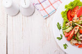 Salad with tomatoes and cucumbers. Frame. — Stock Photo