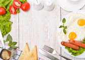 Breakfast with fried eggs. Frame. — Stock Photo
