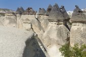 Ancient stone dwellings in Cappadocia — Stock Photo