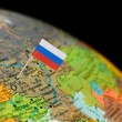 Globe map detail Russia with Russian Flag — Stock Photo #62411767