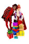 Sinterklaas and zwarte piet with telephone — Stock Photo