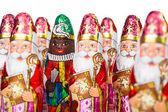 Sinterklaas en Zwarte Piet. Dutch chocolate figure — Stock Photo