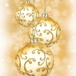 Three beautiful golden christmas balls — Stock Photo #53055447