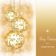 Three beautiful golden christmas balls  — Stock Photo #53055499