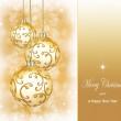Three beautiful golden christmas balls — Stock Photo #53055499