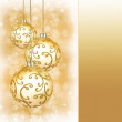 Three beautiful golden christmas balls — Stock Photo #53055513