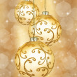 Three beautiful golden christmas balls  — Stock Photo #53055581