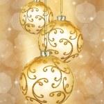 Three beautiful golden christmas balls — Stock Photo #53055581