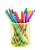 Colourful markers in holder — Stock Photo