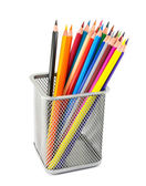 Colored pencils in pot isolated on white background — Stock Photo