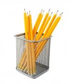 Yellow pencils in metal pot  — Stock Photo