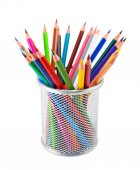 Colored pencils in pot on white background — Stock Photo